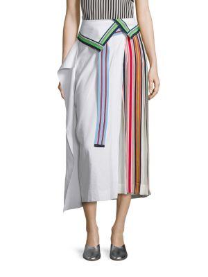 DIANE VON FURSTENBERG Pleated Grosgrain-Trimmed Linen-Blend And Georgette Skirt in Opal