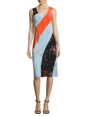 V-neck sleeveless Fenelon-print midi dress