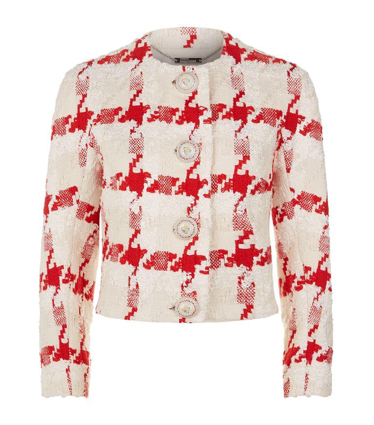 Alexander Mcqueen Silks Large Houndstooth Bouclé Jacket