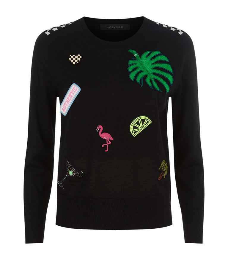 Marc Jacobs Wools Embellished Badge Sweater