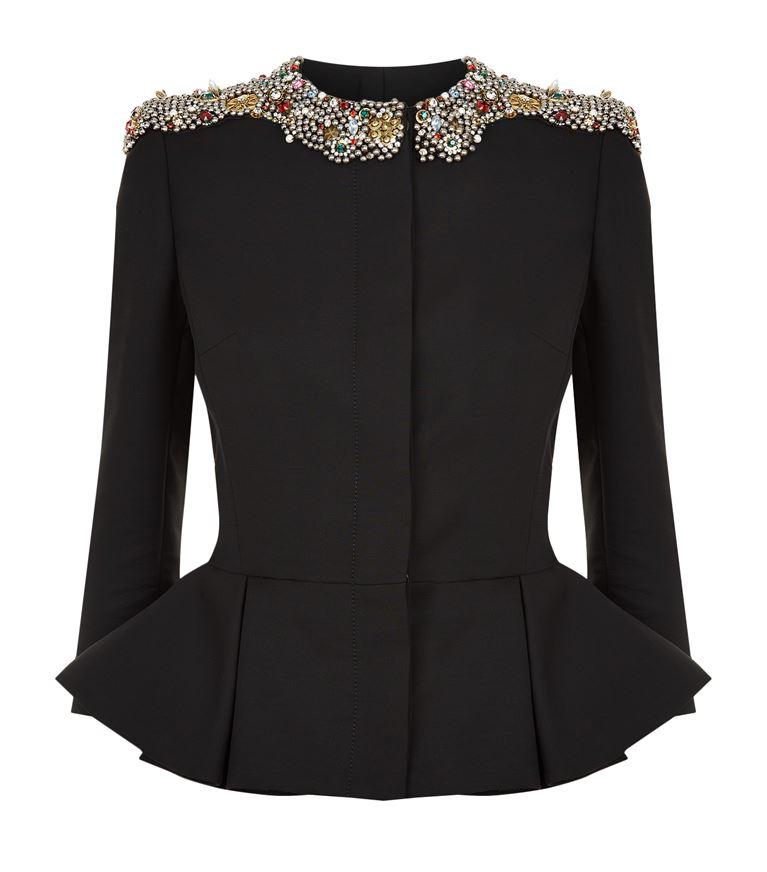 Alexander Mcqueen Wools Embellished Peplum Jacket