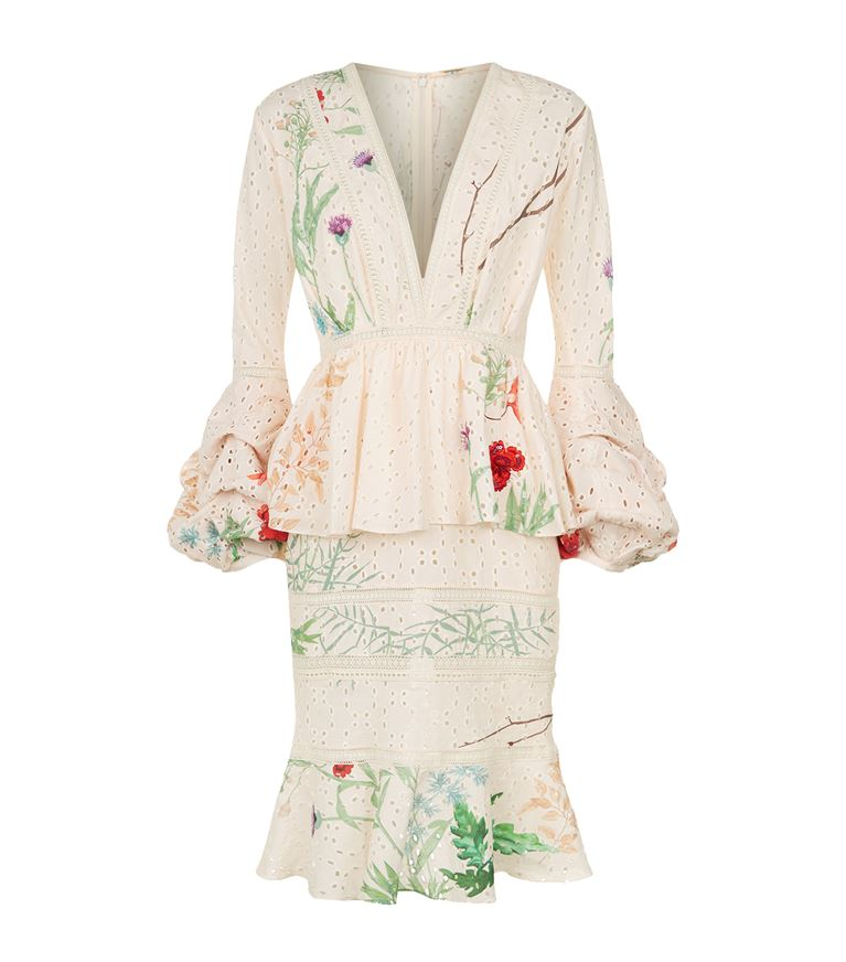 Johanna Ortiz Cottons Floral Eyelet Ruffle Dress
