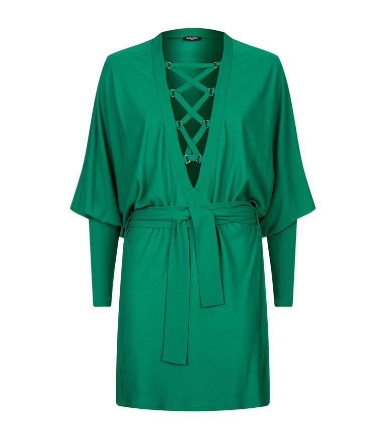 Balmain Dresses Lace-Up Batwing Sleeve Dress