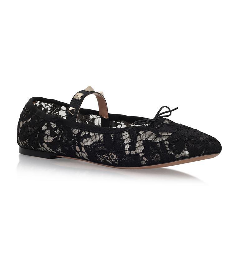Valentino Leathers Rockstud Mary Jane Ballet Flats