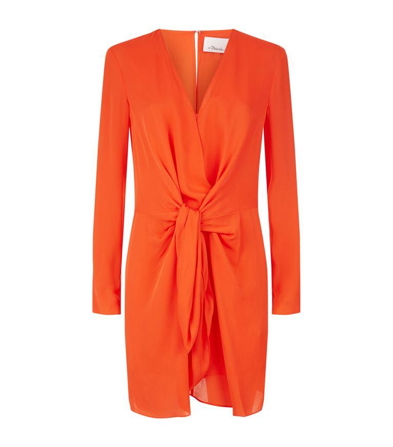 3.1 Phillip Lim Silks Knot Detail Long Sleeved Dress