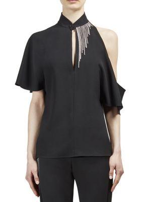 Crystal-embellished asymmetric crepe blouse