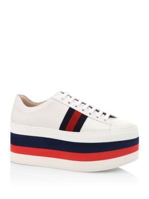 110MM PEGGY LEATHER PLATFORM SNEAKERS, WHITE