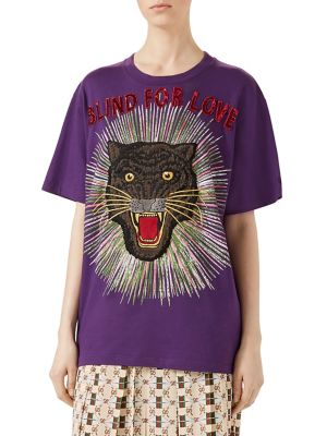 Panther-embroidered cotton T-shirt