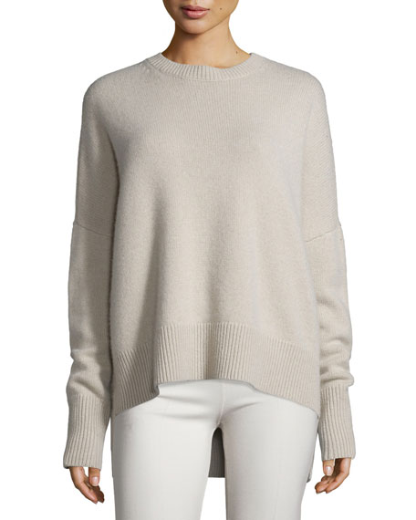 Theory Cashmeres KARENIA RIBBED CASHMERE SWEATER, NATURAL LINEN, BLUE