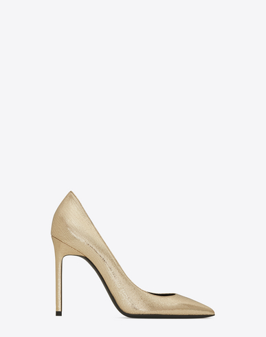 ANJA 105 PUMP IN PALE GOLD CRACKED METALLIC LEATHER