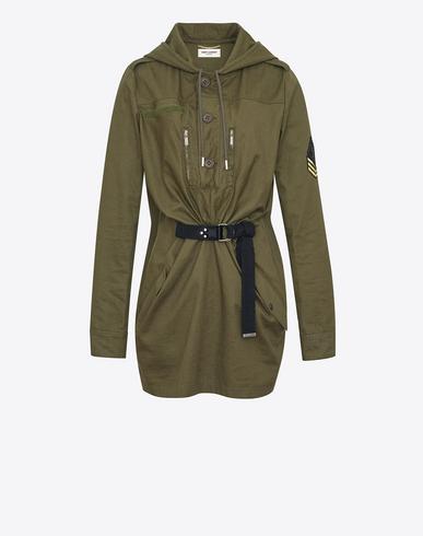 PATCH EMBELLISHED COTTON BLEND GABARDINE DRESS