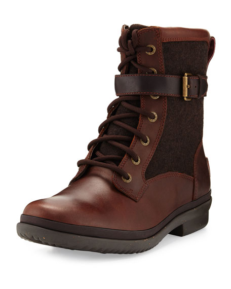 Ugg Leathers KESEY WATERPROOF COMBAT BOOT, CHESTNUT