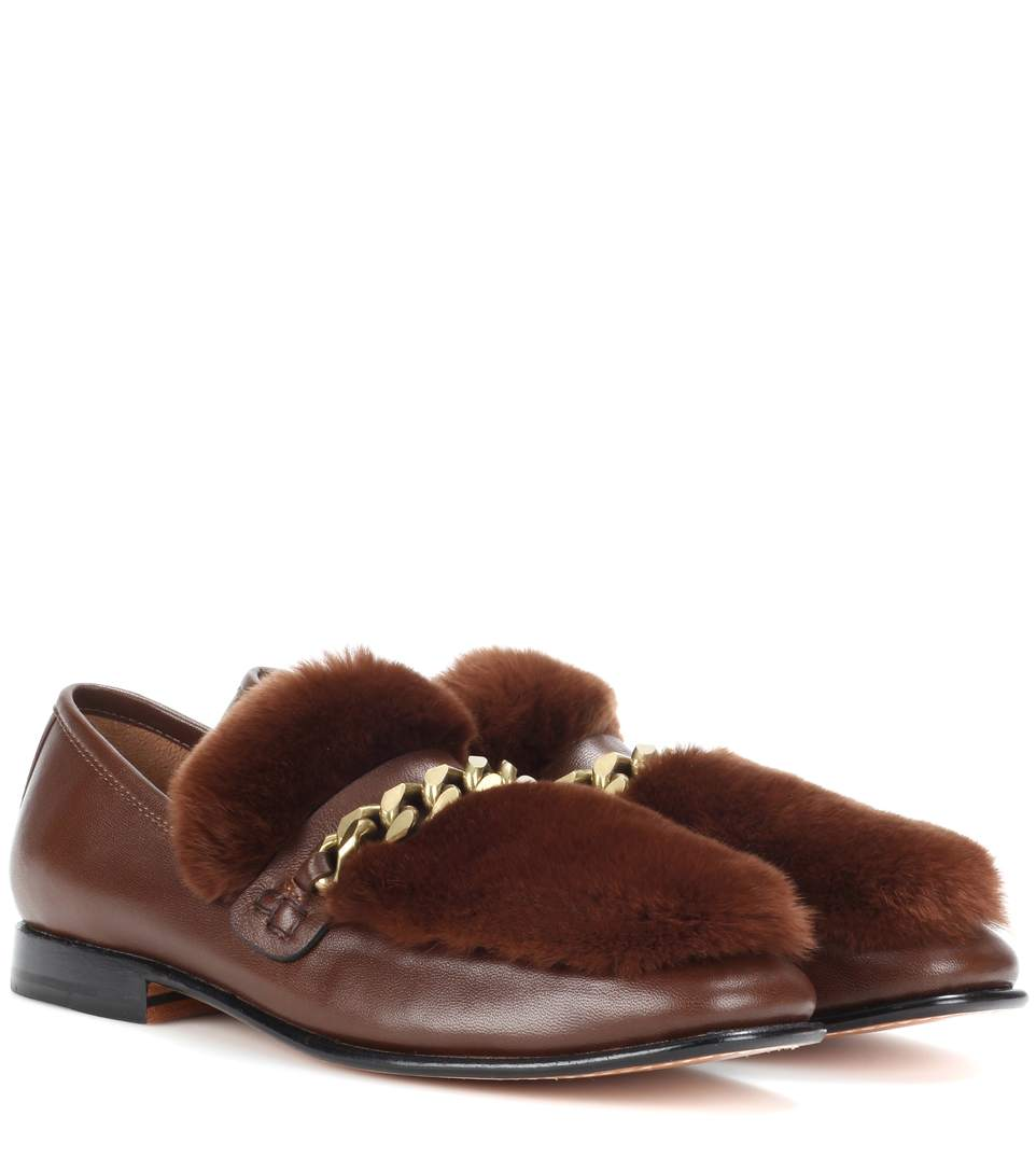 BURGUNDY LOAFUR LEATHER AND FUR LOAFERS