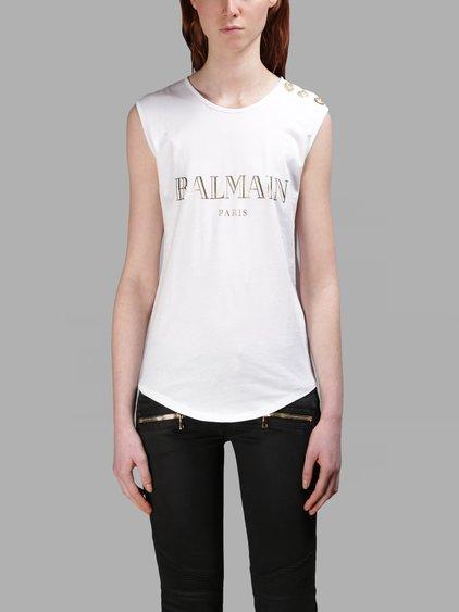 BALMAIN Logo Printed Cotton T-Shirt, White/Black in White/Gold