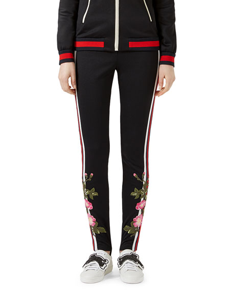 GUCCI Embroidered Jersey Leggings Black Pattern | ModeSens