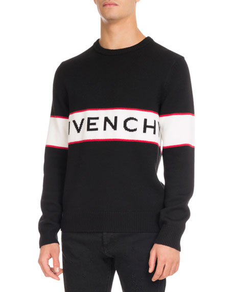 givenchy logo stripe wool sweater black modesens. Black Bedroom Furniture Sets. Home Design Ideas
