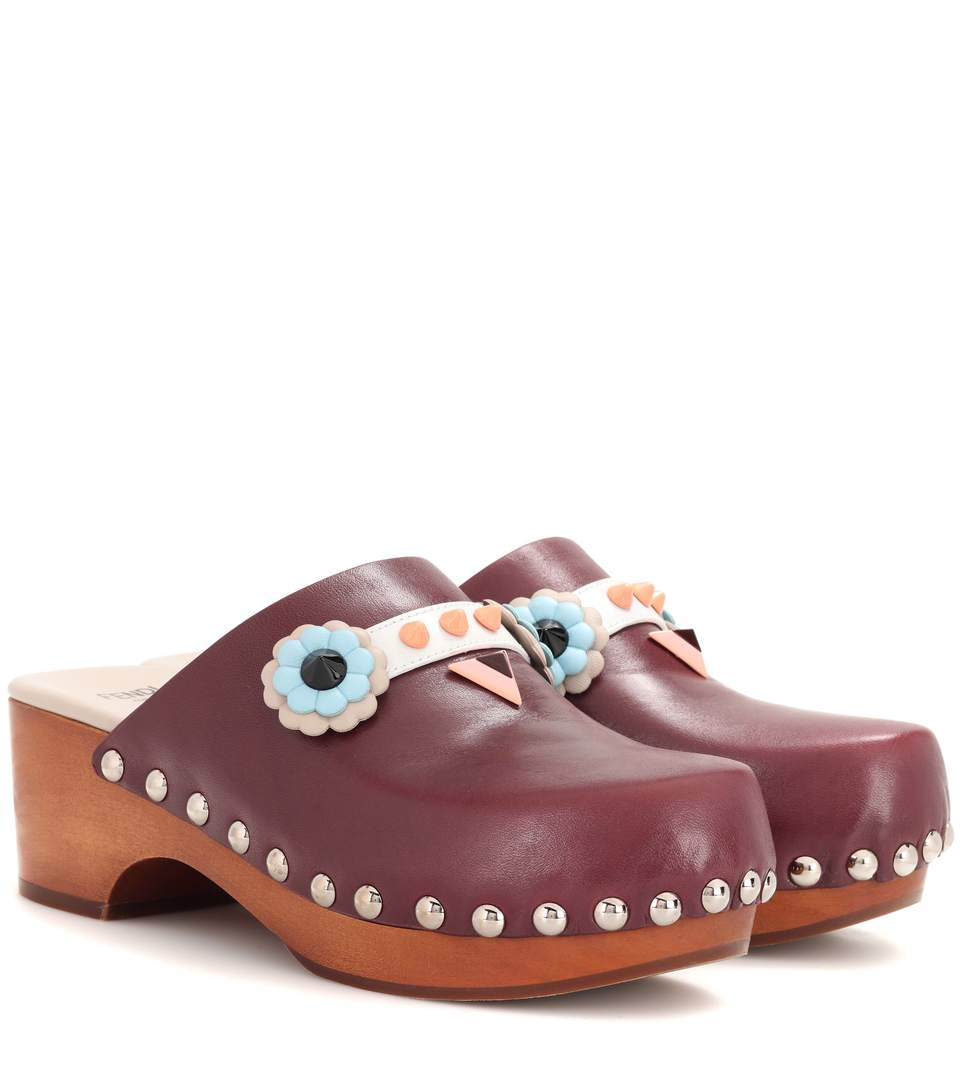 EMBELLISHED LEATHER CLOGS