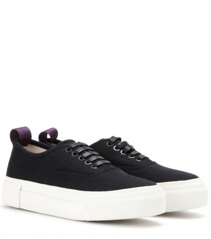 MOTHER BLACK CANVAS TRAINERS