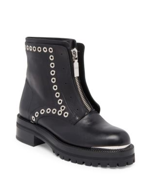 Stud Flat Embellished Leather Ankle Boots