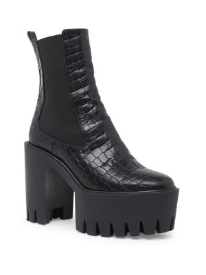 MONSTER CROCODILE-EFFECT FAUX-LEATHER ANKLE BOOTS