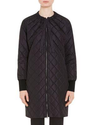 Black Down Collarless Coat