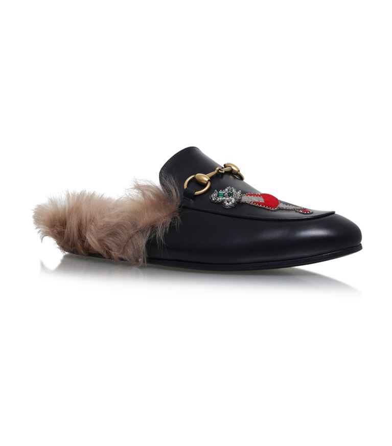 Gucci Leathers Princetown Embellished Leather Slippers