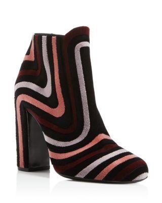 Feel Embroidered Velour Block Heel Booties