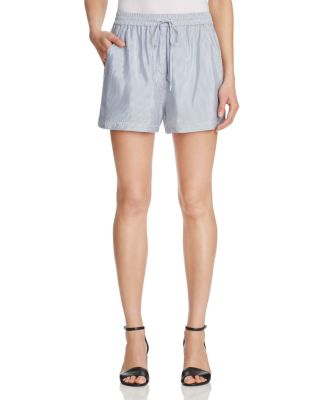 WOMAN STRIPED CREPE DE CHINE SHORTS LIGHT BLUE