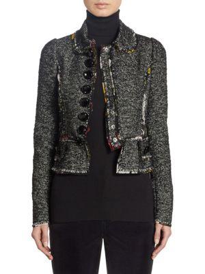Floral-Seam Tweed Cropped Jacket