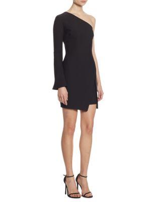WOMAN ONE-SHOULDER WRAP-EFFECT CREPE DE CHINE MINI DRESS BLACK
