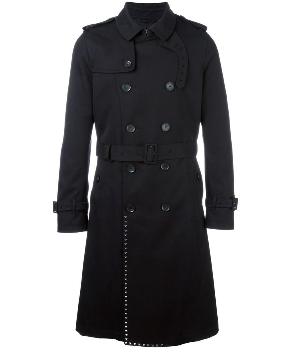 Valentino Cottons VALENTINO MEN'S  BLACK POLYESTER TRENCH COAT