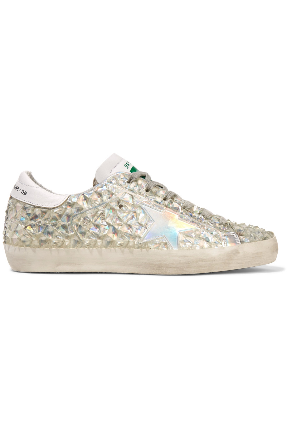 Golden Goose Leathers Leather-trimmed crystal-embellished rubber sneakers
