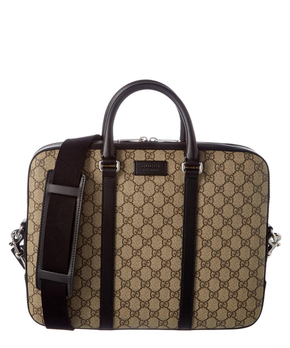 GUCCI Gucci Gg Supreme Canvas &Amp; Leather Briefcase'