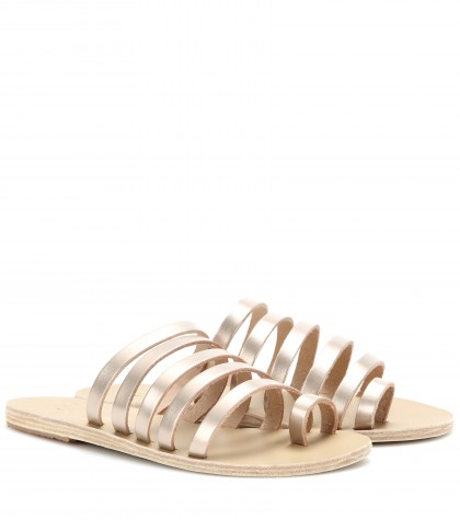 NIKI PEARLY STUDDED MULTI-STRAP FLAT SANDALS, SILVER