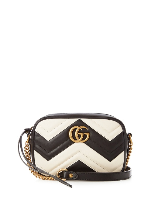 Gucci Leathers GG MARMONT MINI QUILTED-LEATHER SHOULDER BAG