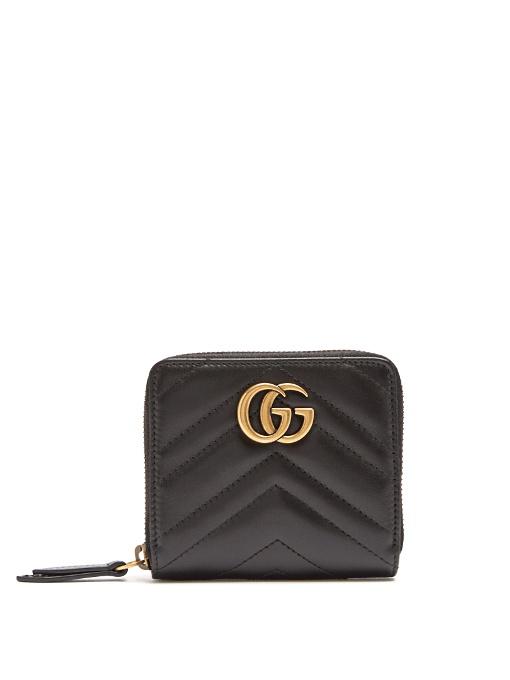 Black Mini GG Marmont 2.0 Zip Around Wallet