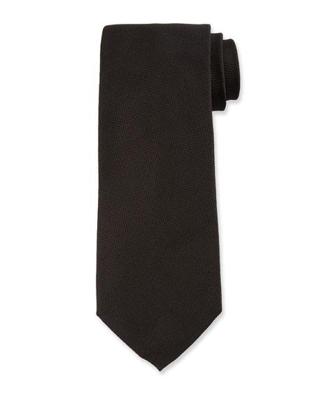 TOM FORD Solid Textured Silk Tie, Black