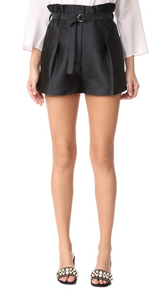'Origami' high waist belted satin shorts