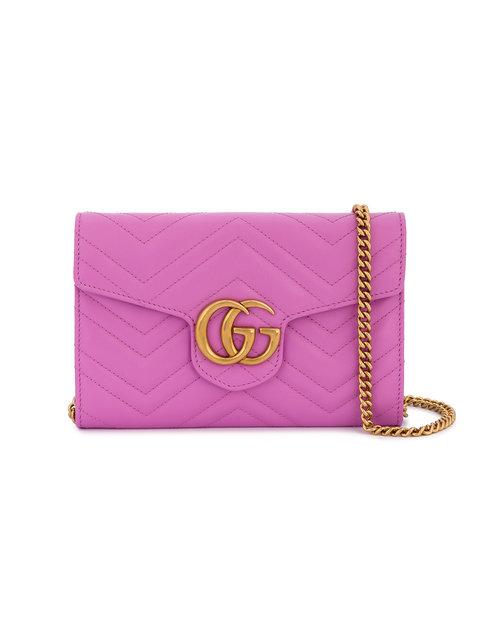 GUCCI Marmont Chevron Chain Wallet Bag