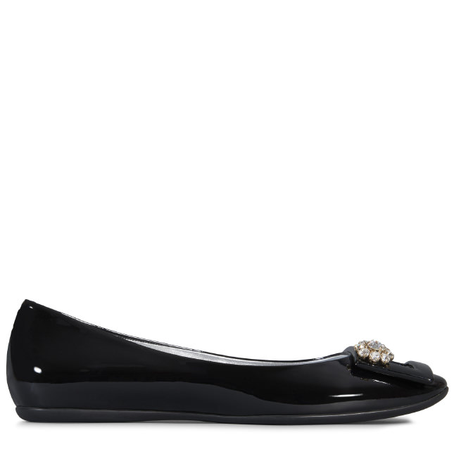 ROGER VIVIER Gommette Jewels Buckle Ballerinas In Patent Leather in Black