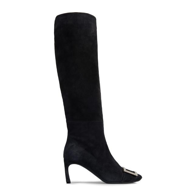 ROGER VIVIER Trompette Suede Knee Boot in Black