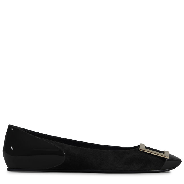 ROGER VIVIER Ballerina Trompette Cut In Suede And Patent Leather