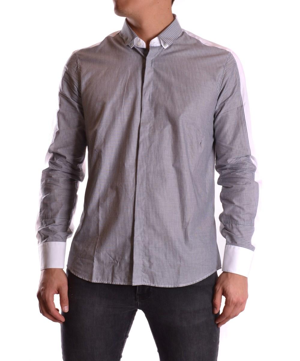 NEIL BARRETT Men'S  Grey Cotton Shirt