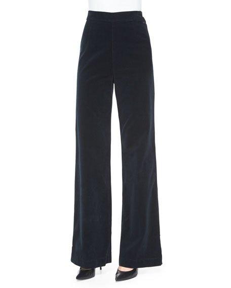 AG Laura High-Waist Wide-Leg Velvet Pants, Dark Night, Dark Navy
