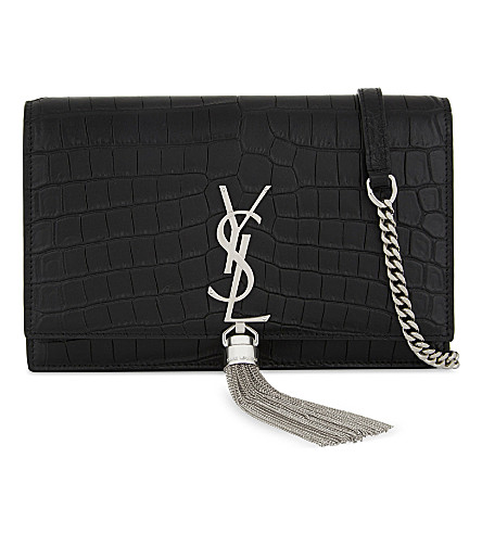 Kate Tassel crocodile-embossed leather shoulder bag