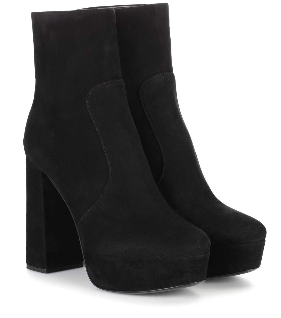 prada suede plateau ankle boots in eero modesens. Black Bedroom Furniture Sets. Home Design Ideas
