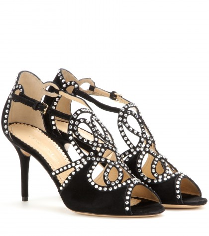 'Lotte' Charlotte'S Web Strass Suede Sandals