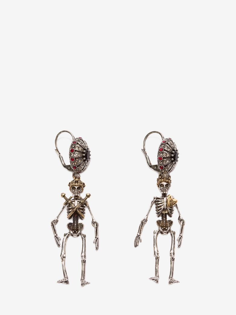 KING AND QUEEN SKELETON EARRINGS, GOLD, ONE SIZE