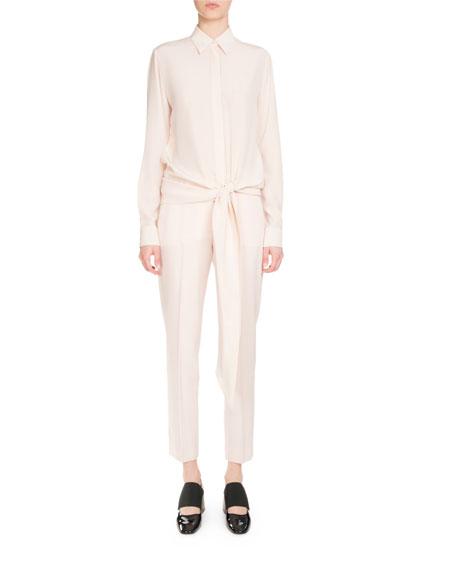 Givenchy Silks BUTTON-FRONT TIE-WAIST BLOUSE, FLESH