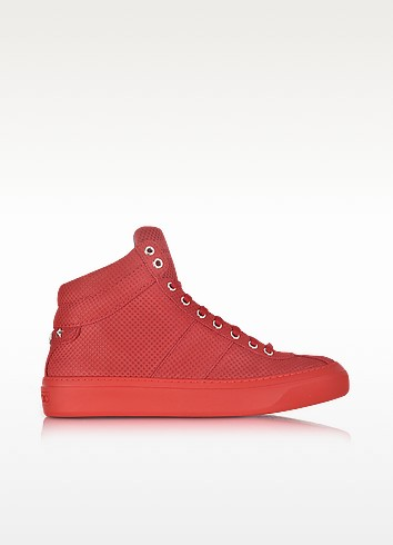 Jimmy Choo Leathers BELGRAVIA DEEP RED POINT EMBOSSED NUBUCK HIGH TOP SNEAKERS W/STARS